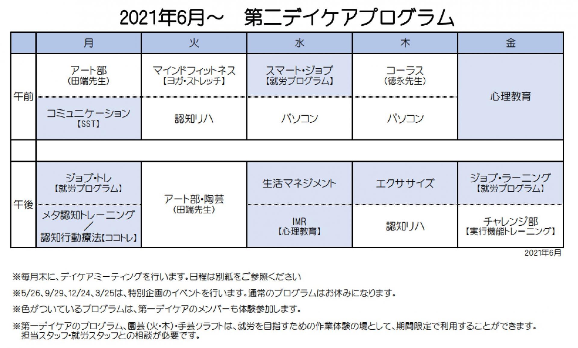 第二デイケア プログラム表